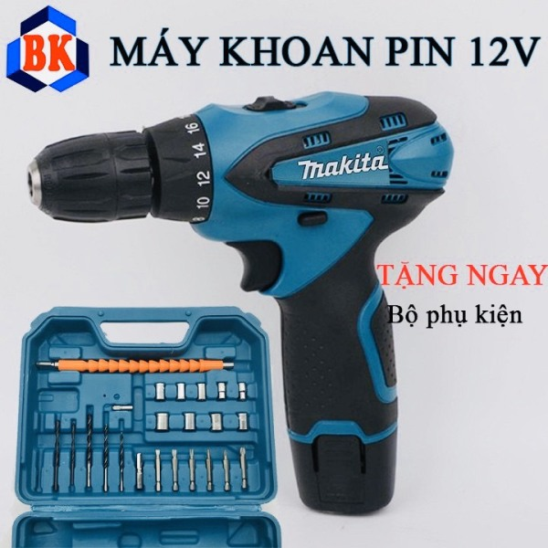 Bộ máy khoan pin Makita 12V - Tặng kèm 24 chi tiết gồm các mũi khoan + Mũi bắt vít