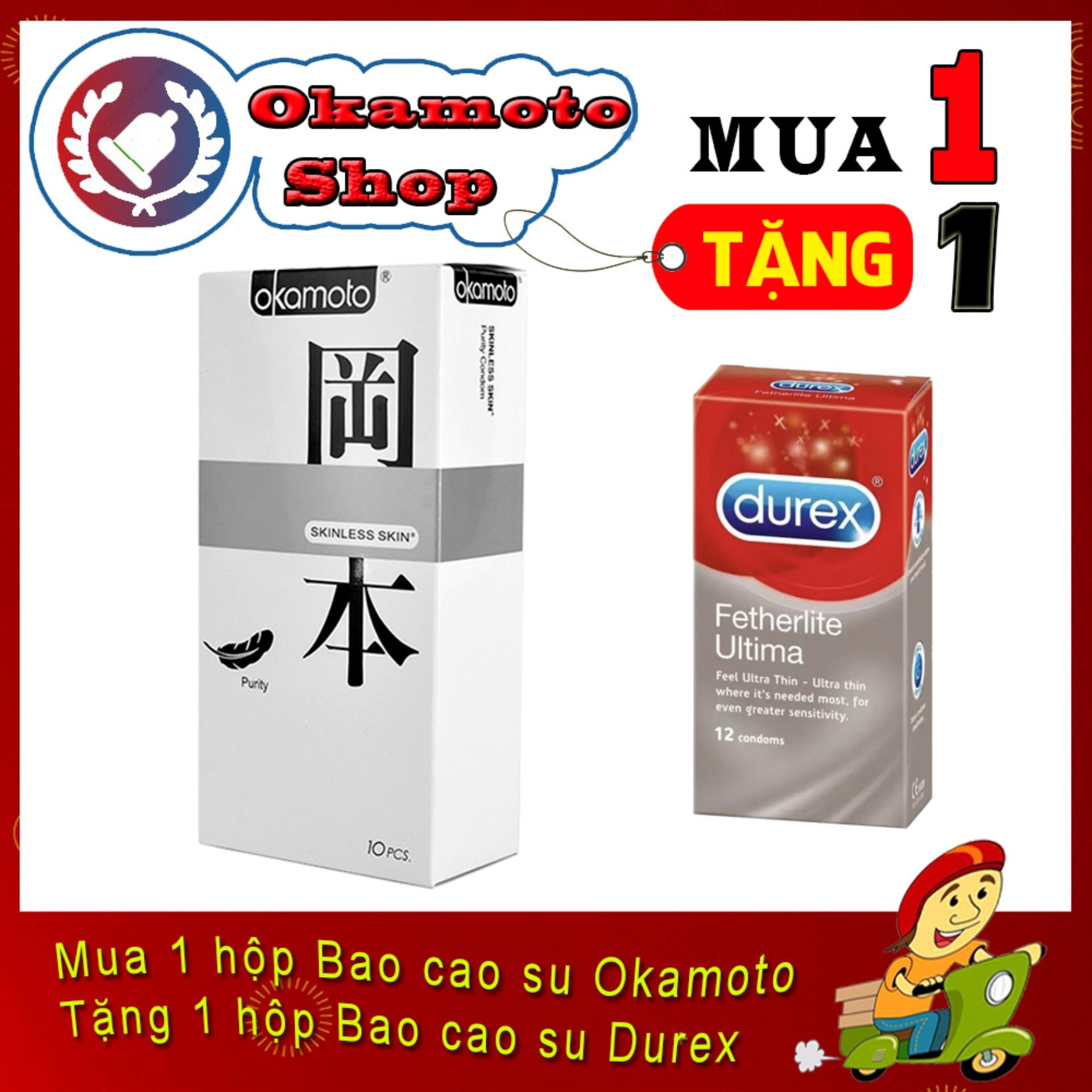 [Mua 1 tặng 1] Bao Cao Su Okamoto Purity siêu mỏng 0.05mm 10s - Tặng Bao cao su Durex Ultima siêu mỏng 12s