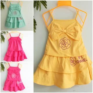 Set Áo hai dây + chân váy dễ thương | đầm tết cho bé gái | kiểu hở lưng, chất vải thun 4 chiều siêu mềm min cho bé 3-12kg. KIM SHOP 2020