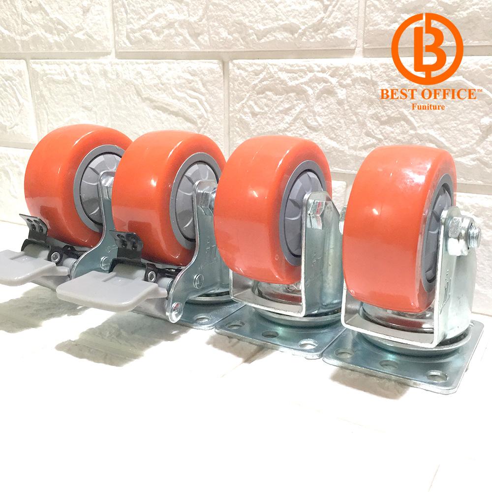 [Loại tốt]Bộ 4 bánh xe đẩy hảng chịu tải 250 kg, đường kính 7.5cm di chuyển đa mặt sàn (2 bánh xoay và 2 bánh xoay có hãm)