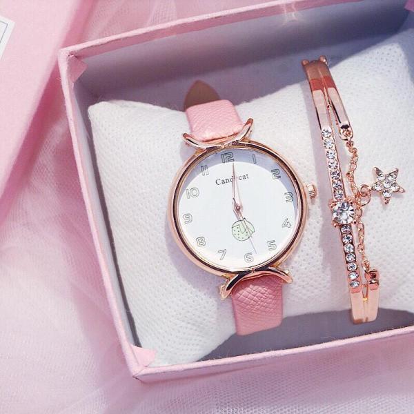Đồng hồ thời trang nữ Candycat mặt số dây da mẫu mới tuyệt đẹp