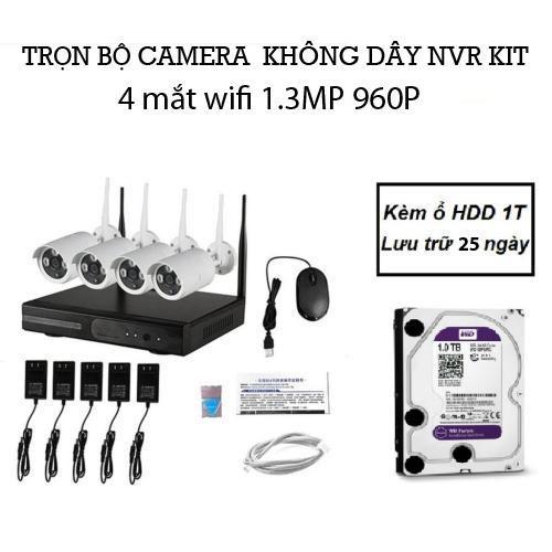 Bộ đầu Ghi Nvr Kit Wifi 4 Mắt Camera Wifi 1.3m 960p Kèm ổ Hdd 1t By Bảo Hân Cctv.