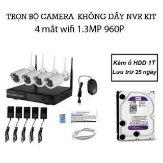 Bộ đầu ghi NVR kit wifi 4 mắt camera wifi 1.3M 960P Kèm ổ HDD 1T thumbnail