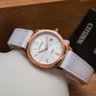 Đồng hồ Nữ Citizen máy quartz, kính cứng, dây da, size 28mm EU6073-02A thumbnail