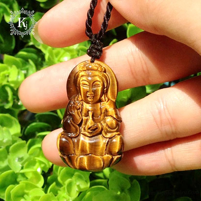 Mặt Dây Chuyền Phật Quan Âm Đá  Mắt Hổ Nâu VàngThiên Nhiên - Tặng Kèm Dây Đeo và Hộp Đựng Sang Trọng