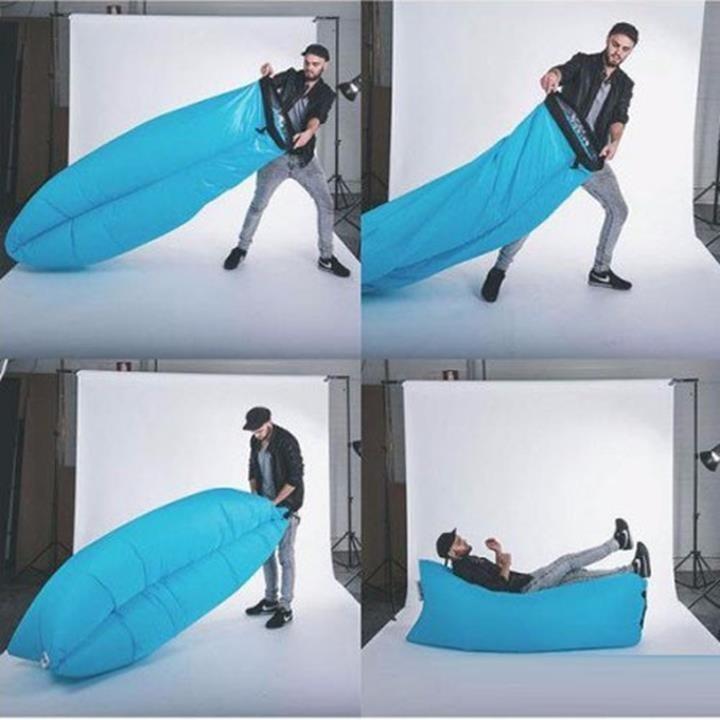Túi Hơi Du Lịch Tiện Lợi! Không cần dùng bơm, chỉ cần mở miệng và hứng gió vào đầy túi.