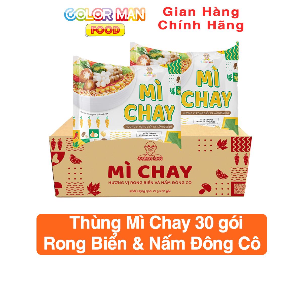 [HCM]Thùng 30 gói mì chay Color Man hương vị rong biển và nấm đông cô giòn mềm không gắt dầu tăng độ ngon khi ăn