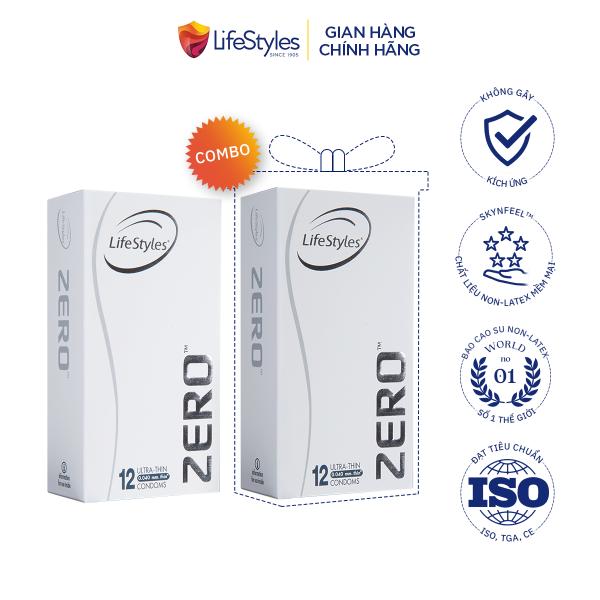 Bộ 2 hộp bao cao su LifeStyles Zero siêu mỏng cao cấp 12 bao, biện pháp phòng tránh thai và các bệnh đường tình dục tiện lợi