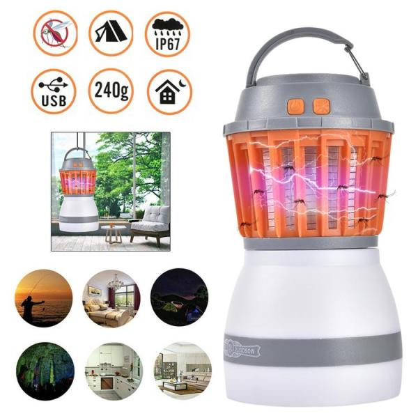 USB Rechargeable IP67 Camping Lantern with UV Mosquito Killer Multifunctional Tent Light