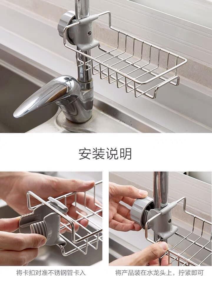 Giá vòi nước đơn bằng inox inox để giẻ rửa bát tránh vi khuẩn, Gia inox de gie rua bat tranh vi khuan, nam moc sieu chac chan