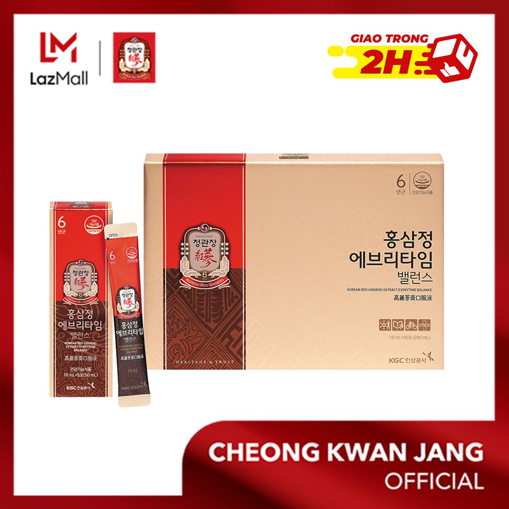 Nước hồng sâm Hàn Quốc Everytime Balance KGC Cheong Kwan Jang 10ml x 20 gói - Bổ sung năng lượng, cải thiện hệ miễn dịch, chống oxy hoá, giảm thiểu mệt mỏi, tăng trí nhớ