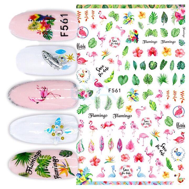 Miếng Dán Móng Tay 3D Nail Sticker Hồng Hạc Mùa Hè Flamingo Tropical Summer F561 tốt nhất