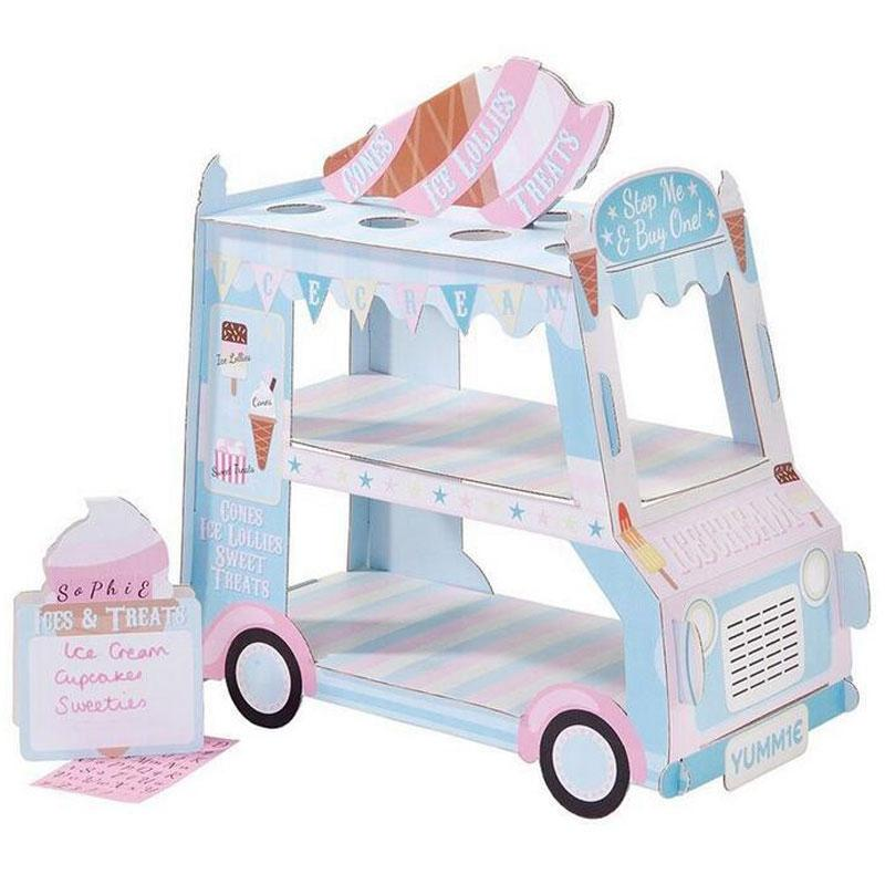 Ice Cream Van Stand Cars Display Stand Cupcakes Event Party Disposable Birthday Decoration Cupcake Sugar Sweets Crafts Display