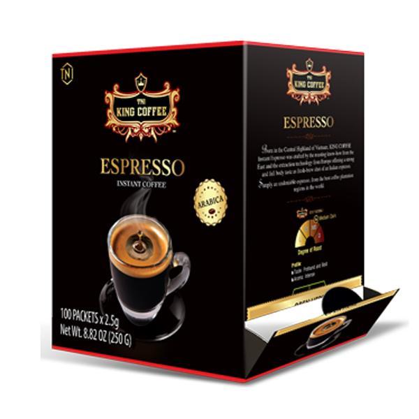 Giá Hot Duy Nhất tại Lazada Khi Mua Cà Phê Đen Hòa Tan Espresso KING COFFEE - Hộp 100 Gói X 2.5g - Arabica Café Hòa Tan đậm Hương Vị Cà Phê Ý