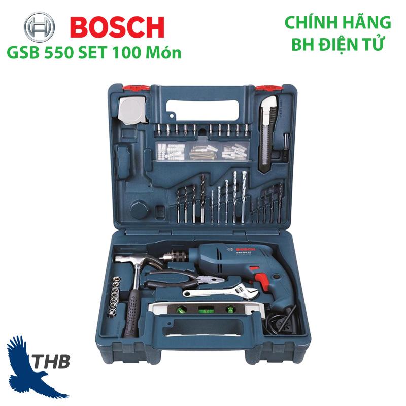 Bộ máy khoan gia đình Khoan động lực GSB 550 Set 100 Kèm hộp nhựa và phụ kiện 100 món bảo hành điện tử 06 tháng