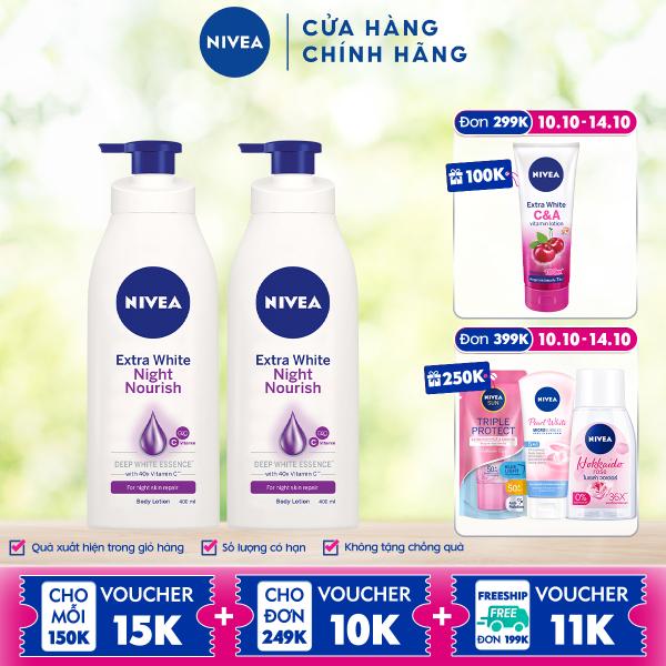 Bộ đôi Sữa Dưỡng Thể Trắng Da Nivea Ban Đêm (400ml x2) - 88126 nhập khẩu