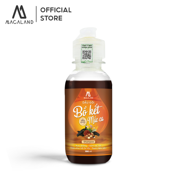 Dầu gội Bồ Kết MỀM MƯỢT phục hồi tóc hư tổn dầu Macadamia 100ml MACALAND dành cho mọi loại tóc