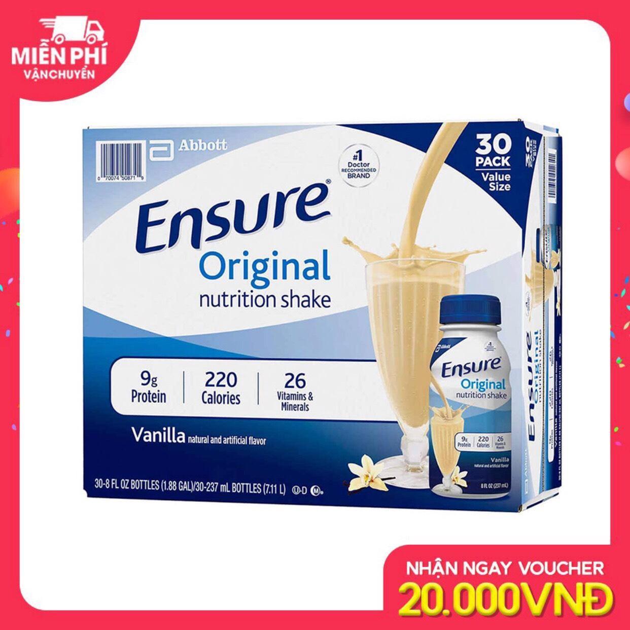 Mã Khuyến Mãi Thùng 30 Chai Sữa Nước Ensure Vani 237ml