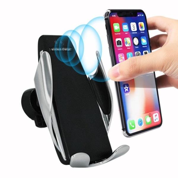Sạc không dây S5 kiêm giá đỡ điện thoại tự động trên ô tô cảm biến tự động đóng mở kẹp điện thoại, Sạc nhanh & tiêu chuẩn không dây QI