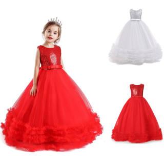 NNJXD 2020 Cô gái Trẻ em Váy cưới Lần đầu Rước lễ Trang trọng Ren Sequins Dài Công chúa Váy dạ hội Váy dự tiệc cho Trang phục trẻ em