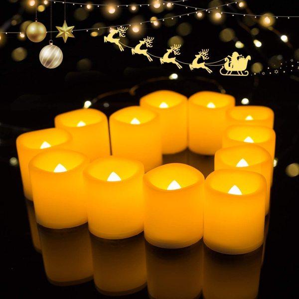 (Size 7*5 CM) 5 Cây Nến Sáp Điện Tử Đèn Led Tim Lắc Kèm Sẵn Pin Trang Trí Lễ Tiệc Thờ Cúng Lễ Vu Lan Candle Led Light