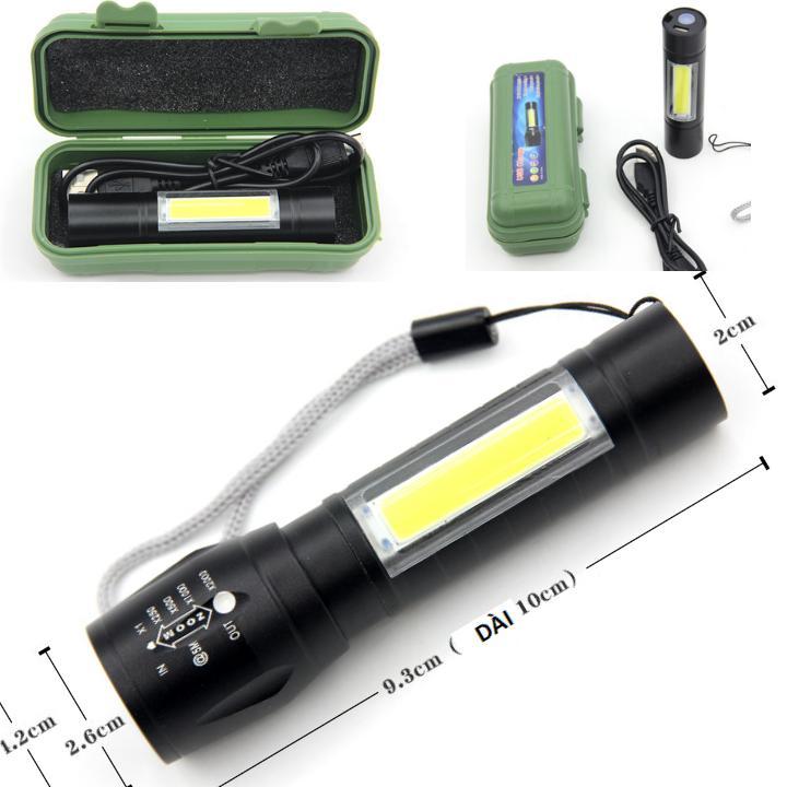 Đèn Pin Siêu Sáng MINI ,2 Trong 1 , Sac Cổng Usb ,co Zoom Có Led Chớp , Nhiều Chế độ đèn ,full Hộp Nhựa Cùng Giá Khuyến Mãi Hot