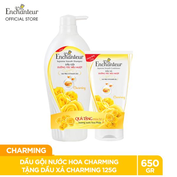 [Tặng Dầu xả Charming 125g] Dầu gội nước hoa Enchanteur Charming 650g - SMP 2021 cao cấp