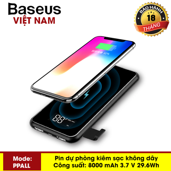 Pin dự phòng Basues 8000mAh kiêm sạc không dây 2 cổng USB, thiết kế nhỏ gọn, sạc được nhiều thiết bị cùng lúc - Phân phối bởi Baseus Vietnam