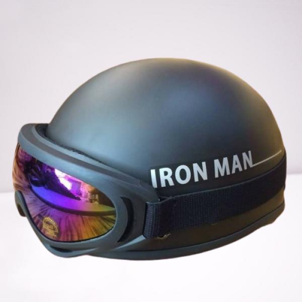 Mũ bảo hiểm nửa đầu tem Iron Man+ Tặng kính UV 7 Màu