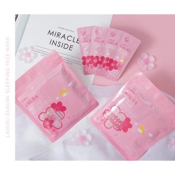 Mặt nạ ngủ hoa anh đào sakura laikou(set 15 gói nhỏ)