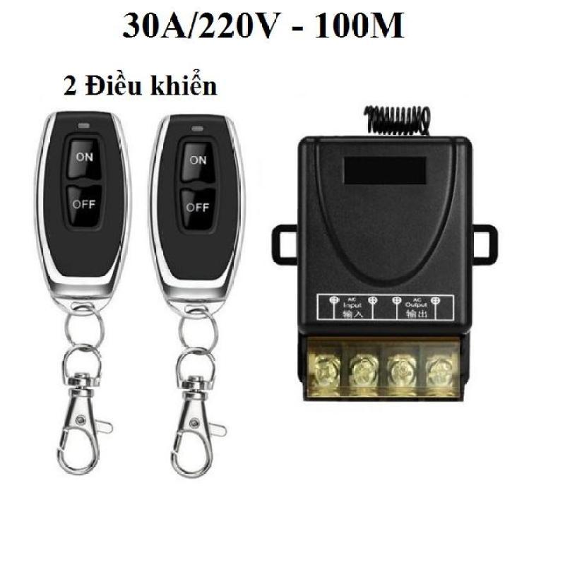 Bộ công tắc điều khiển từ xa 100M bật tắt máy bơm và các thiết bị điện công suất lớn 30A/220V (Đen,2 điều khiển)
