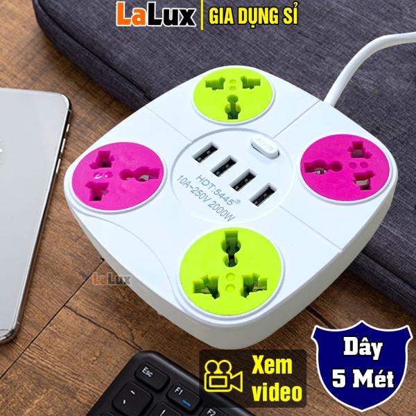 Bảng giá [5445] Ổ Cắm Điện Đa Năng Dây Dài 5 Mét, 4 Phích Cắm, 4 Cổng Sạc USB Công Suất 2000WC- Ổ Cắm Điện Đa Năng , Ổ Cắm Điện Thông Minh  , Ổ Cắm Điện Gắn Tường LALUX