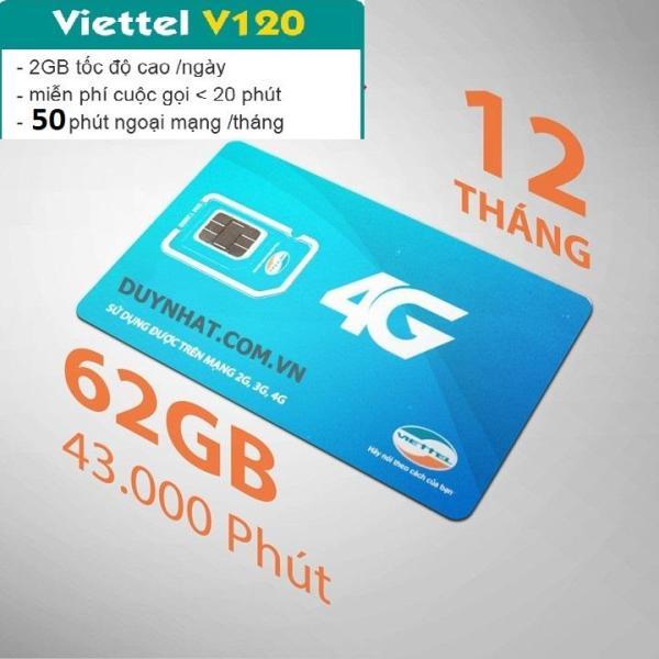 Sim  Viettel V120 TẶNG NGAY 60Gb + 4350 phút gọi miễn phí / tháng +100 phút gọi ngoại mạng từ MƯỜNG THANH ROYAL