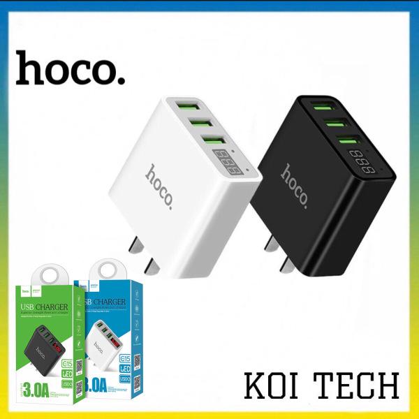 Cốc sạc củ sạc nhanh 3 cổng Hoco C15 3A - màn hình LCD hiển thị điện áp