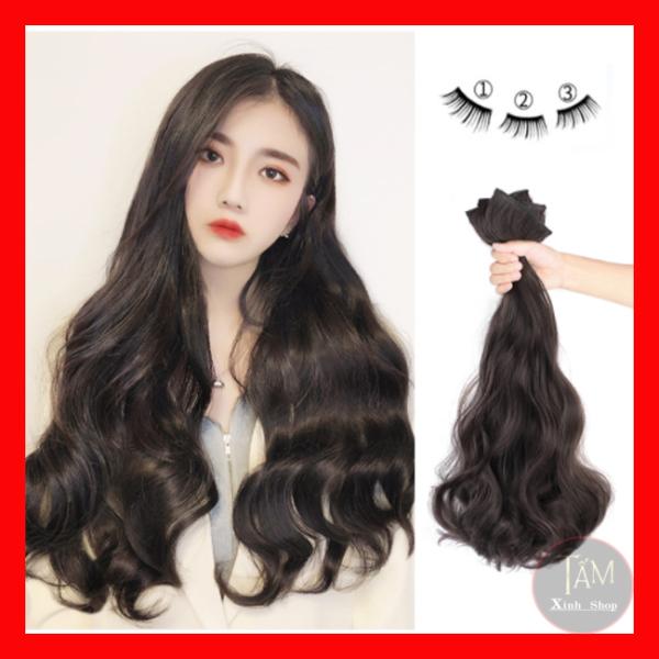 Sét 3 dải Tóc Giả Kẹp xoăn sóng cao cấp làm dày tóc, tự nhiên mềm đẹp nhập khẩu