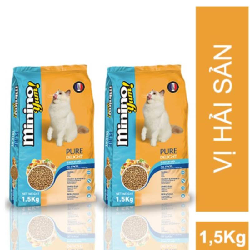 Combo 2 gói thức ăn cho mèo Minino Yum 1.5kg