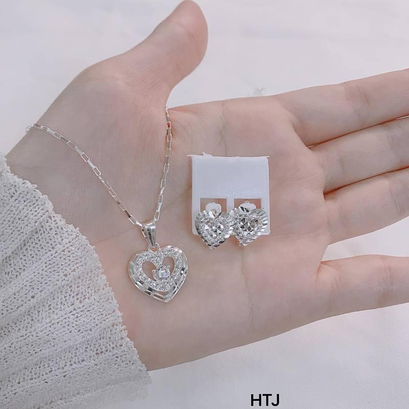 Bộ trang sức bạc Ý mặt tim MS27a
