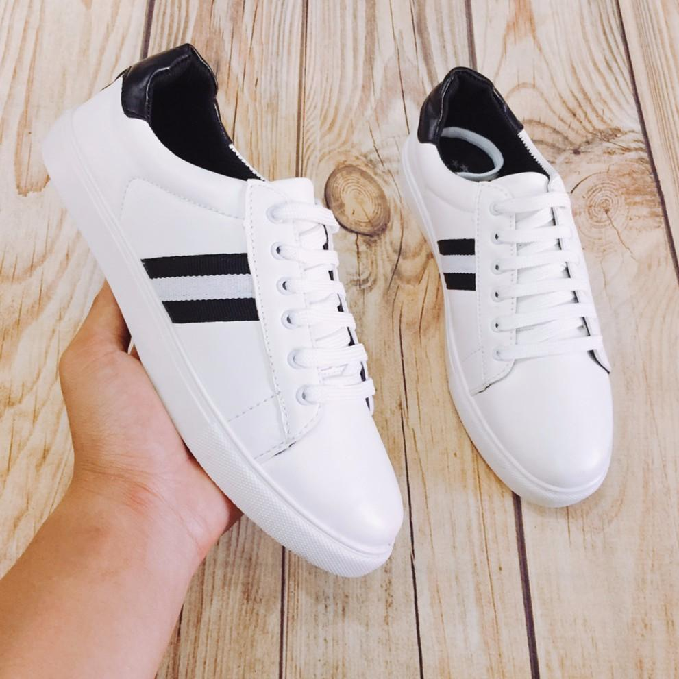 Giày Sneaker nam thể thao màu trắng kiểu 3 sọc đen hot trend năm nay