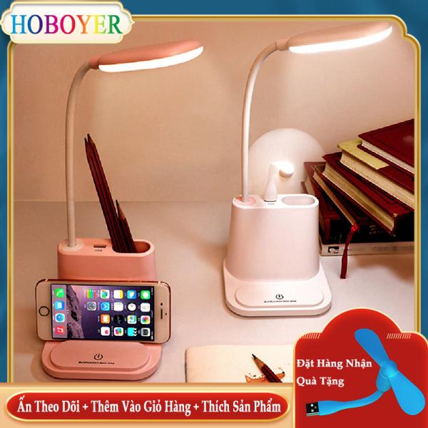 Bảng giá HOBOYER Đèn bàn Bảo vệ mắt  Có thể điều chỉnh độ sáng  Đèn Led để bàn học   Đèn để đầu giường xoay 360 độ dễ dàng mang theo  Sạc pin USB  Đèn bàn kèm theo hộp đựng bút đa năng  Giá để điện thoại