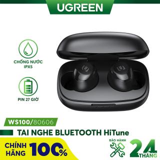 Tai nghe Bluetooth TWS UGREEN Hi-tune WS100 - Âm thanh Hifi True Wireless, chống nước IPX5, sạc 15 phút nghe nhạc 2 giờ, hỗ trợ sạc không dây, pin đến 27 giờ thumbnail
