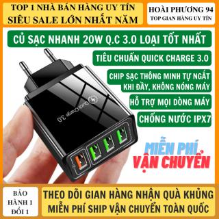 Củ Sạc Nhanh Quick Charge 3.0 20W 4 Cổng Nhiều Chế Độ Sạc Hỗ Trợ Mọi Dòng Điện Thoại, Củ Sạc Nhanh Android Củ Sạc Iphone, Bộ Sạc Nhanh 20W thumbnail