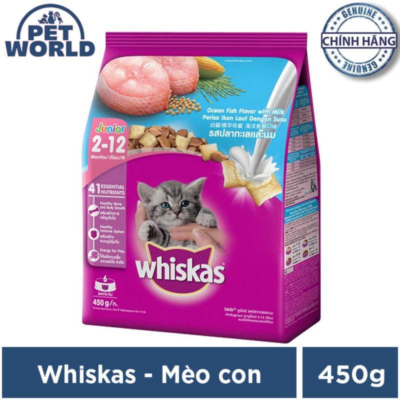 Thức ăn cho mèo con Whiskas vị cá biển & sữa túi - Dạng túi 450g