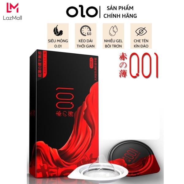Bao cao su OLO 0.01 cao cấp Đỏ đen Samurai - Hộp 10 bcs