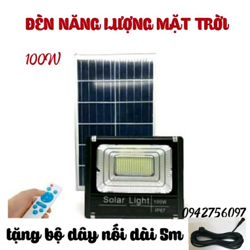 Đèn pha led 100W năng lượng mặt tròi có điều khiển