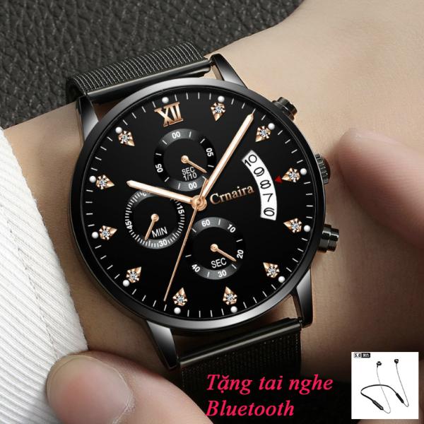 (TẶNG TAI NGHE BLUETOOTH 5.0) Đồng hồ nam cao cấp Crnaira C029, đồng hồ nam thời trang chống nước, dây thép lụa mềm, kính khoáng cường lực chống xước chống mài mòn, có dạ quang, chạy 6 kim, đồng hồ máy nhật -MYGOOD bán chạy