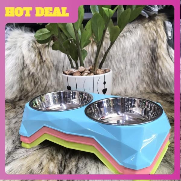 Bát(chén) ăn đôi cho thú cưng inox vỏ nhựa cao cấp .