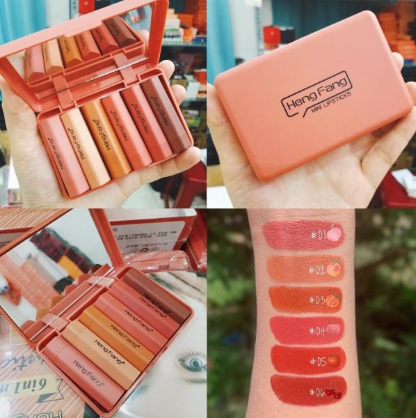 Set 6 cây son siêu lì siêu xinh Lipstick Heng Fang có gương tốt nhất