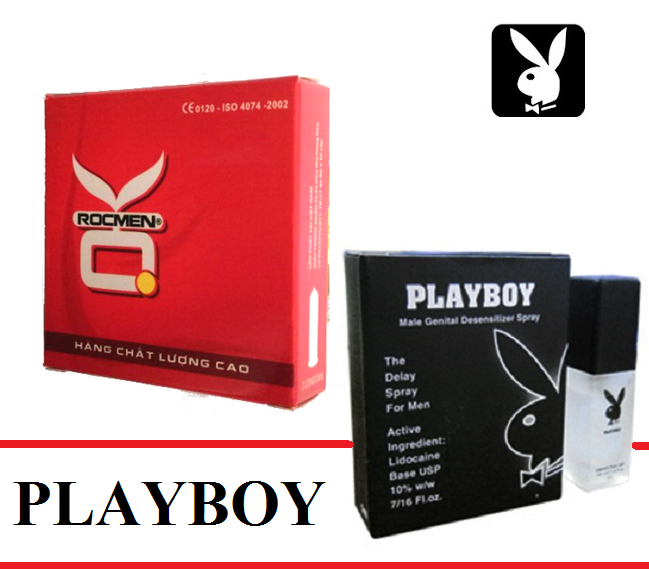 Bộ 1 hộp bao cao su OK tặng Chai xịt kéo dài thời gian quan hệ cao cấp PLAYBOY 5ml nhập khẩu