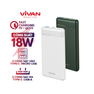Pin Sạc Dự Phòng 10000mAh VIVAN VPB-M10 2 Input 2 Output Sạc Nhanh PD QC 3.0 Công Suất 18W Thiết Kế Vân Nhám Cao Cấp - BH 12 THÁNG 1 ĐỔI 1 thumbnail