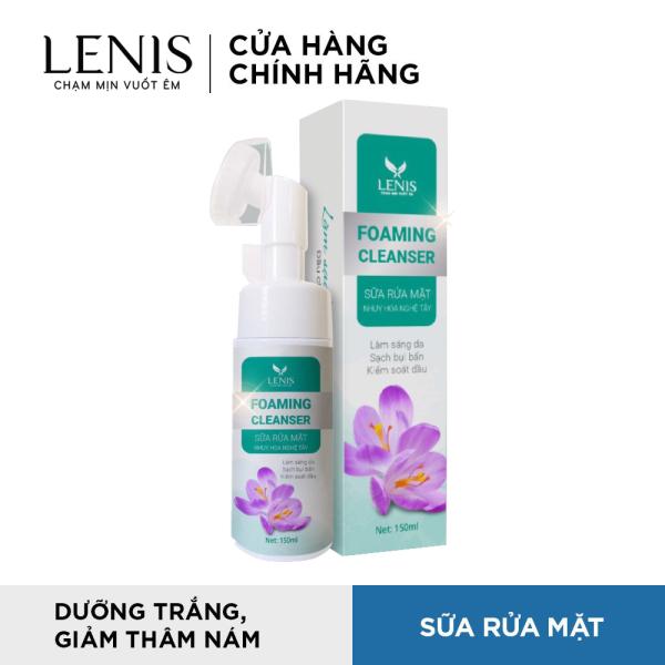 Sữa Rửa Mặt Có Đầu Cọ Sassage Silicon Foaming Cleaneser - Sữa Rửa Mặt Nhụy Hoa Nghệ Tây Lenis 150ml nhập khẩu